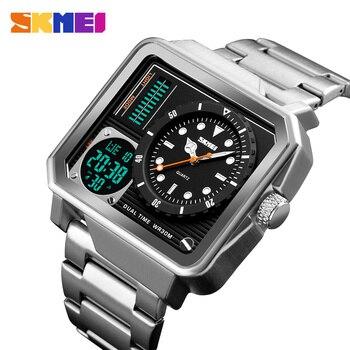 367c3174e000 Relojes de hombre con correa de acero inoxidable reloj Digital Led para  hombre con doble pantalla y alarma de personalidad reloj de cuarzo reloj  hombre 2018 ...