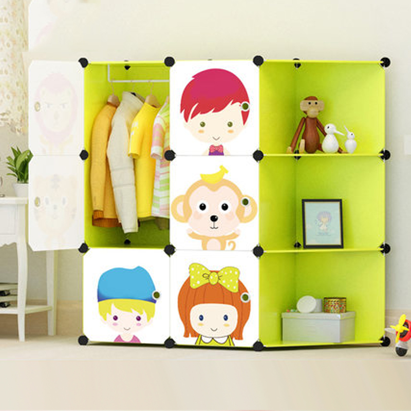 2017 new childrens cartoon plastic assembly simple wardrobe lockers, storage cabinets resin composition baby For kit child