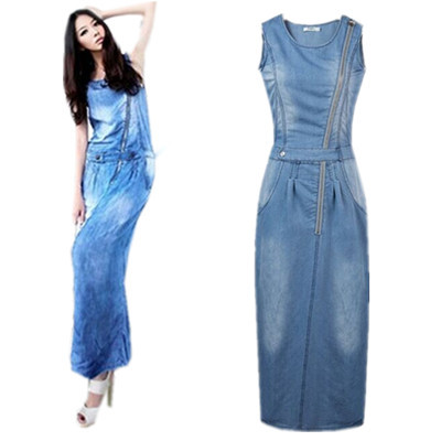 0063c7785d 2015 Women s Elastic jeans Jumper Denim With Zipper Bull-Puncher Sundresses  Jean Dress New Fashion Women Clothing
