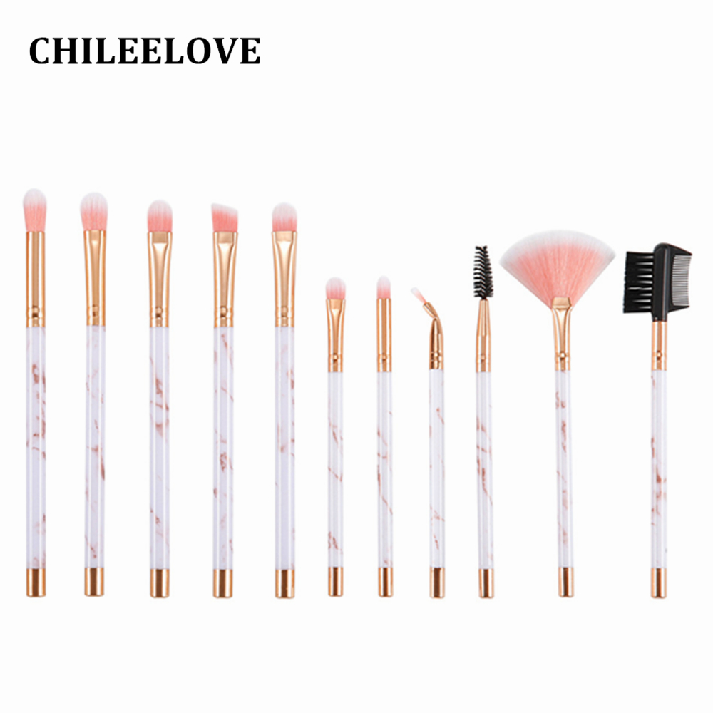 CHILEELOVE 11 Pcs Pink Black Marble Stripe Pro Beauty Tool Makeup Brushes Kit For Blush Bulk Powder Eye Shadow Highlight Brush