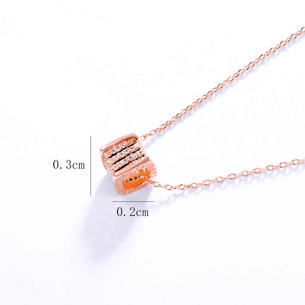 YUN RUO élégant Micro Pave Zircon Cube pendentif collier or Rose couleur argent mode bijoux cadeau d'anniversaire femme livraison directe