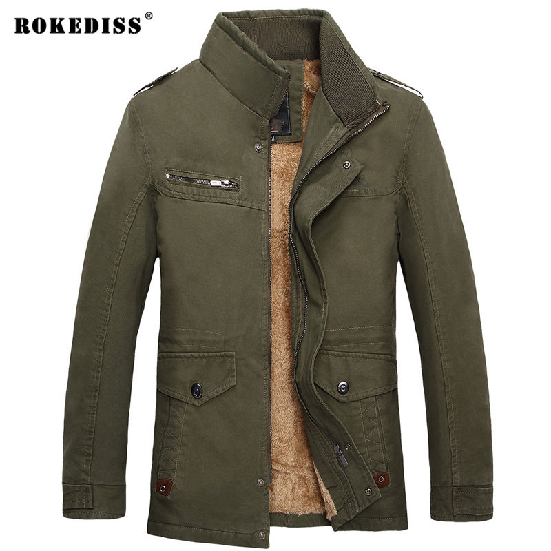ROKEDISS Men's Casual jackets cotton washed coats Army Military Outdoors Stand collar Outerwear Men Coat parka men W018 new men s military style casual fashion canvas outdoor camping travel hooded trench coat outerwear mens army parka long jackets