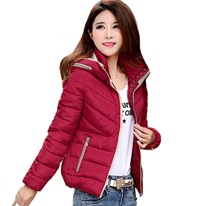 Hooded Winter Jacket Women Slim Cotton Padded Coat Short Outwear Parkas Solid Color 2019 New Arrival Jaqueta Feminina Inverno