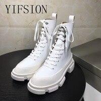 YIFSION/Новые Модные женские ботинки из натуральной кожи черного и белого цвета, женские мотоботы с круглым носком на шнуровке, сезон осень зим