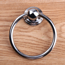 70mm modern simple shiny silver drop rings kitchen cabinet cupboard door handles bright chrome drawer wooden chair door pulls