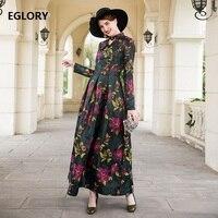 Best Quality Women Long Dress 2018 Autumn Winter Maxi Dress Ladies Vintage Flower Print Long Sleeve Party Evening Maxi Dress 3xl