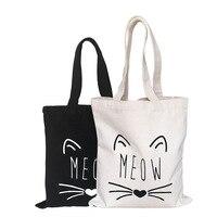 100pcs /lot Christmas shopping bag Canvas reusable grocery tote big foldable striped cotton bags cute cat print sac shopping