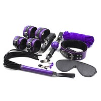 8PCS Lot Purple Mix Color Leather Bondage Restraints Adult Game Bdsm Sex Set Nipple Clamps Rope