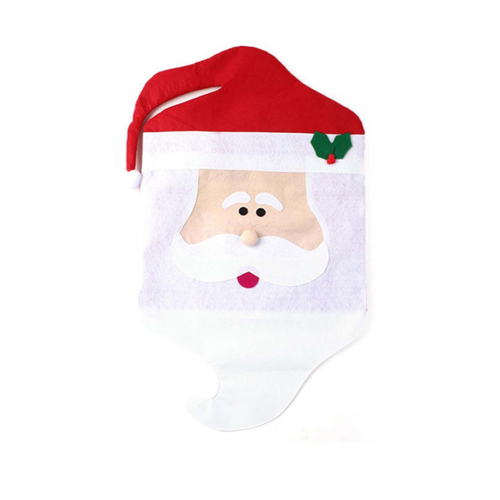 2017 Christmas Party Decoration Santa Claus Dining Chair Back Cover Cartoon Couple Antimacassar Decorations For