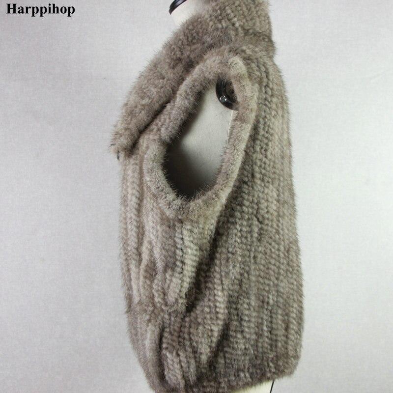 Genuine Nerz Warme Silber Umlegekragen Grau New Gestrickte Weste Wintermantel BoedxC