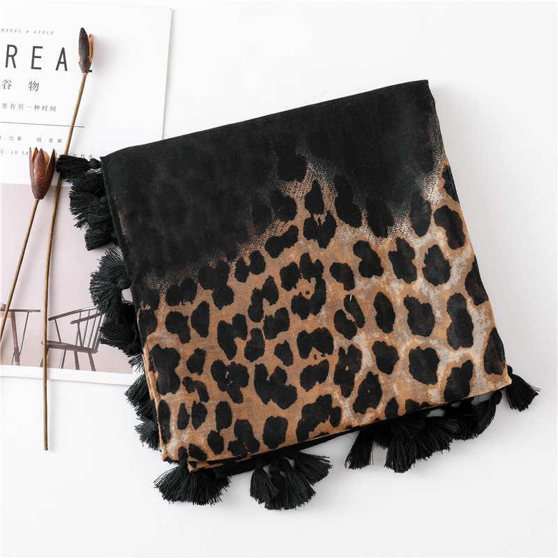 2019 Fashion Wanita Gradien Macan Tutul Cetak Syal Lembut Cukup Besar 180*100 Cm Leopard Mencuri Tipis Hangat Besar Selendang cachecol Membungkus