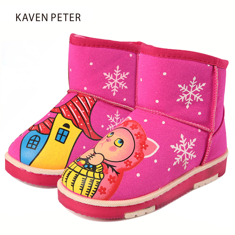 Christmas boots Fashion Snow Boots 2017 winter kids fur Ankle Boots child shoes fur girls printed shoes pink black brown colors ...