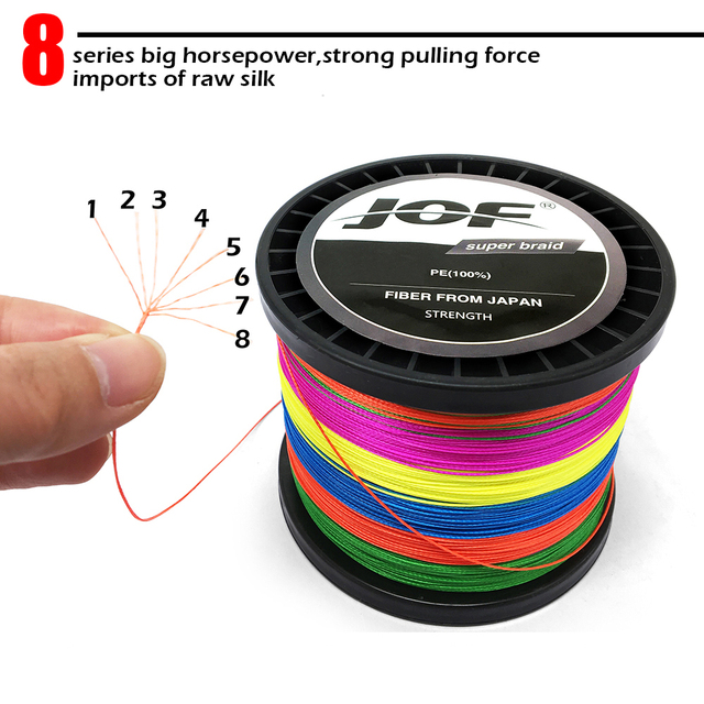 Multicolor 8 Strands 300M 500M 1000M PE Braid Fishing Line Sea Saltwater Fishing Weave 100% SuperPower JOF 4