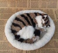 about 25x21cm new Simulation cat polyethylene&furs khaki&black sleeping cat model gift y0166