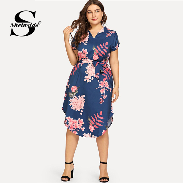 Sheinside Plus Size Elegant Floral Print Straight Belted Dress Women 2019 Summer Casual Roll Up Sleeve Boho Midi Dresses 4