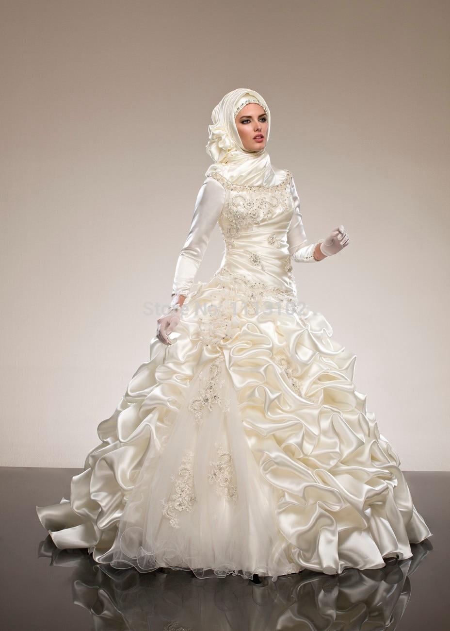 Us 24276 16 Offwanita Gaya Barat Sederhana Lengan Panjang Di Atas Lutut Gaun Pengantin Muslim Satin Vestido De Noiva Vintage Bride Pernikahan Gaun