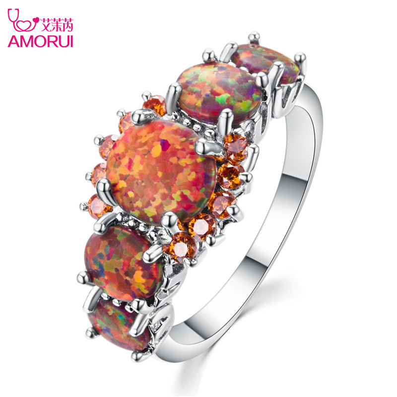 AMORUI Fashion AAA Zircon Orange Orange Opal Silver Ring For Women November Birthstone Engagement/Wedding Rings Anniversary Gift