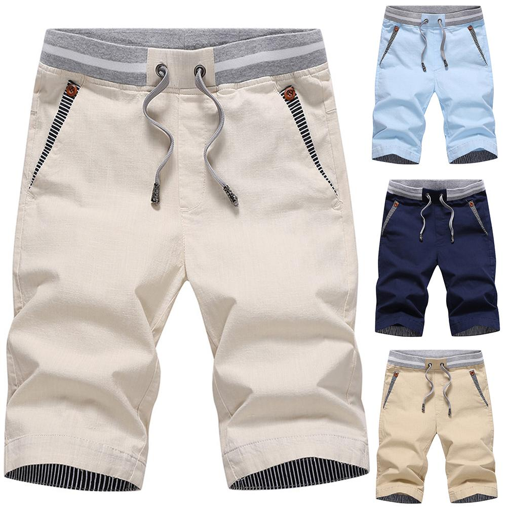 Summer Men Shorts Casual Drawstring Cargo Shorts Sports Cycling Beach Sweatpants Fifth Pants Sweetwear