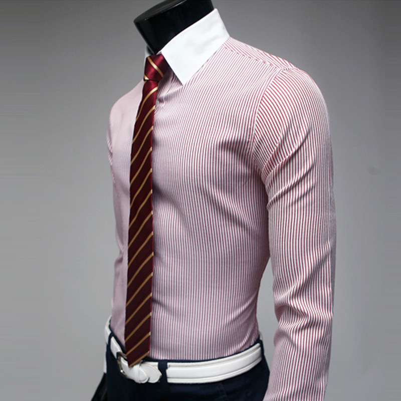Free shipping new men's casual shirt Slim elegant striped white ...