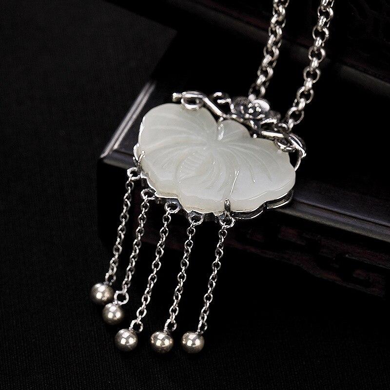 Pendentif en argent Sterling 925 pur pour femmes avec pierres naturelles pendentif en Jade blanc papillon Pedras Naturais