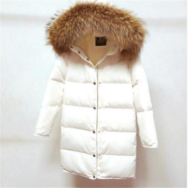 2018 winter brand White duck   down   warm thicker parkas   coat   with hooded real big raccoon fur collar long   down     coat   jacket
