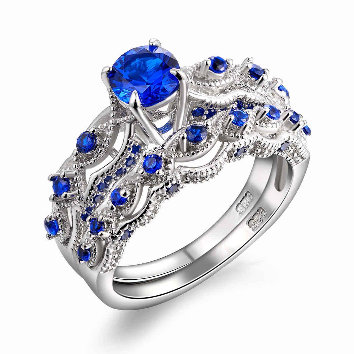 Круглый сапфир свадебное кольцо с бриллиантом Голубой топаз 14 К золото Anillos De Rings Bague Etoile Bizuteria Аквамарин кольцо с диамантами 6 7-10