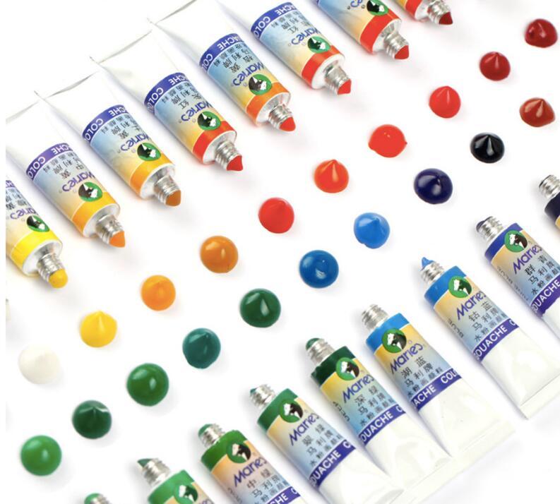 1set Gouache pigment 12 colors 5ml Transparent pigment Bright colors of gouache plastic pipe1set Gouache pigment 12 colors 5ml Transparent pigment Bright colors of gouache plastic pipe