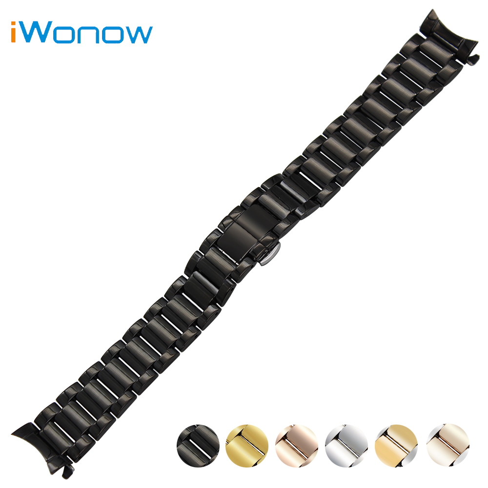 Stainless Steel Watch Band 18mm 20mm 22mm for Baume & Mercier Curved End Strap Butterfly Buckle Belt Wrist Bracelet Black Silver curved end stainless steel watch band for breitling iwc tag heuer butterfly buckle strap wrist belt bracelet 18mm 20mm 22mm 24mm