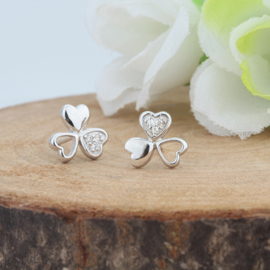 925 Original Silver Jewelry Woman Flower Stud Earrings Lucky Clover Crystal Trendy Classic New Summer Winter Jewelery 9*9mm 1set