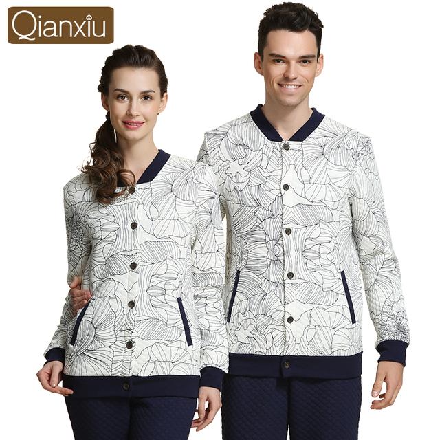 Qianxiu marca parejas Pajamas Set invierno cálido algodón de manga larga pijamas para hombre ropa de dormir Pijama Homme salón camisa y pantalón