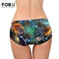 Forudesigns nova moda 3d galaxy impressão sexy mulheres underwear calças não-traço underwear de seda
