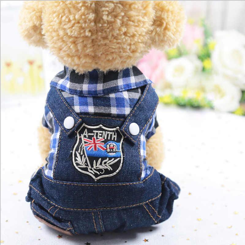 새 개 옷 애완 동물 제품 강아지 고양이 의상 격자 4 다리 청바지 onesies 자켓 봄 여름 가을 착용