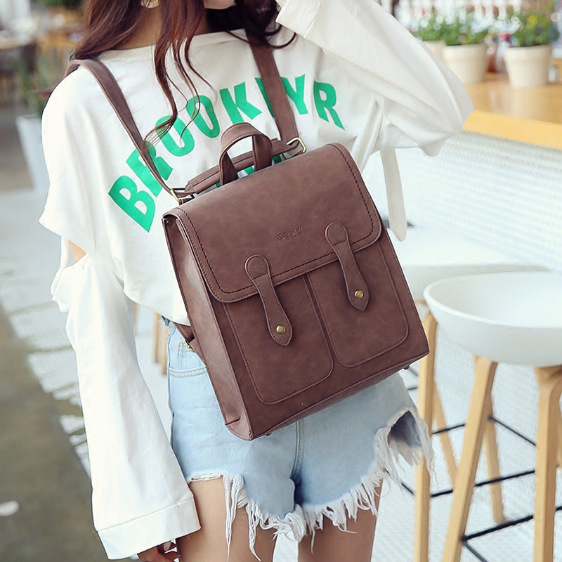 Korean Style Wemen Casual Backpack Fashion And Popular Joker Preppy Style Travel Bag New Pure Color