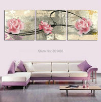 3 pieces Vintage pink roses still life wall art painting pictures print on canvas for home decorative wholesale is welcomed