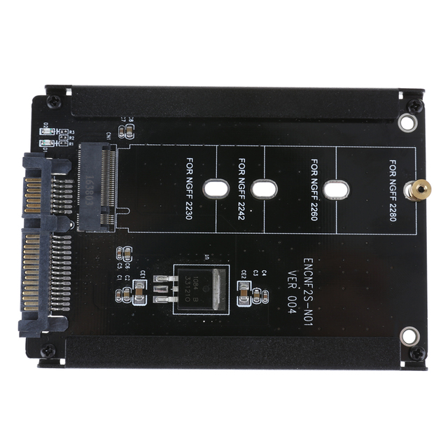 ALLOYSEED Black Metal Case CY B+M Socket 2 M.2 NGFF (SATA) SSD to 2.5 SATA Adapter for 2230/2242/2260/2280mm m2 SSD 2