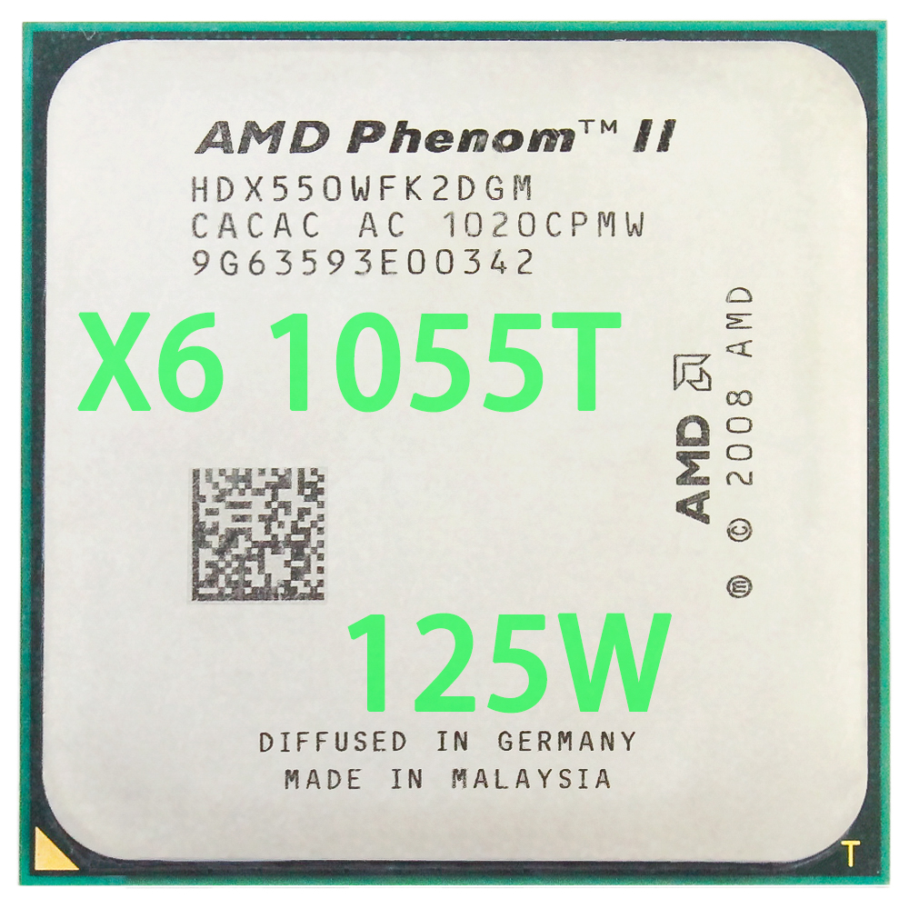 AMD Phenom II X6 1055 T 2.8 Ghz/6 M/125 W Six-Core Socket AM3/AM2 + 938 broches CPU Processeur Livraison Gratuite