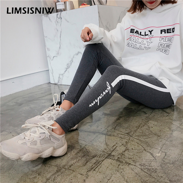 20652a1023 US $11.1 |LIMSISNIW Dark Grey Color Women Plain Cotton Leggings Fashion  Styling Ankle Length Causal Style with White Stripe & Letters-in Leggings  from ...