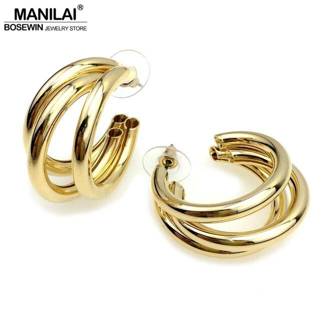 MANILAI Unique Design 3 Layered Metal Tube Geometric Punk Stud Earrings For Women Fashion Jewelry Earring Statement Brincos 2018