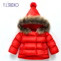 Baby Girl Down Cotton Jacket Winter Clothes Fashionable Thickening Snow Wear with Hat Imitation Wool Collar 1 Year Parker Coat