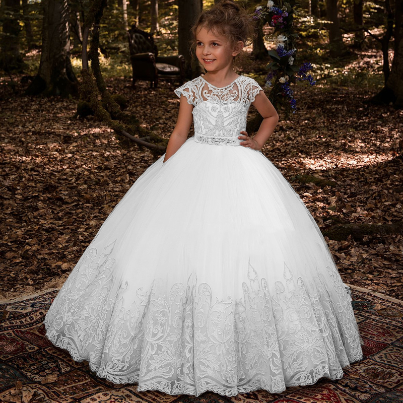 NEW Flower Girl Dresses With Bow Beaded Crystal Lace Up Applique Ball Gown First Communion Dress