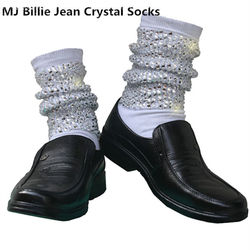نادر MJ مايكل جاكسون كلاسيك بيلي جان كريستال اليدوية 100% غطاء للقدم الجوارب الفضفاضة مع بلورات في 1980S