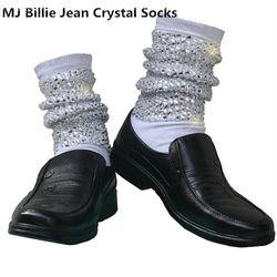 Rare MJ Michael Jackson Classic Billie Jean di Cristallo Fatti A Mano 100% Copertura Del Piede Larghi CALZE CON CRISTALLI In 1980 s