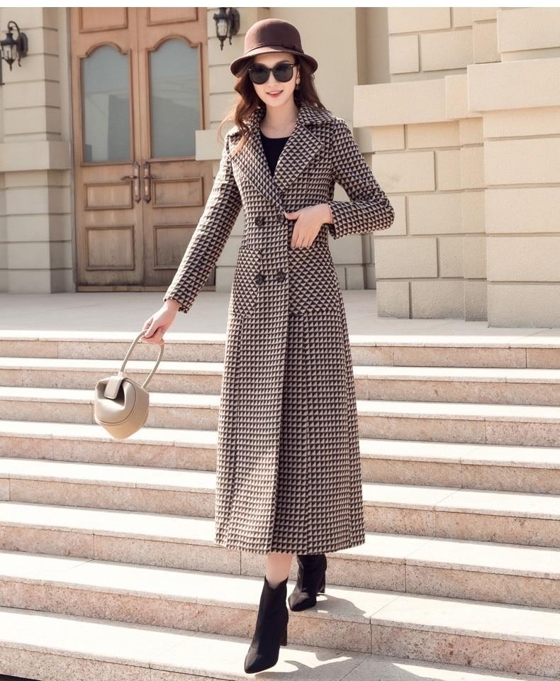 Frauen Lange Winter Dicke Hahnentritt Woolen Mantel-in Wolle & Mischungen aus Damenbekleidung bei  Gruppe 2