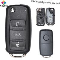 KEYECU 10PCS/Lot Flip Remote Control Car Key Shell Case With 3 Button FOB for Volkswagen/ Seat/ Skoda Citigo Octavia Rabid Yeti