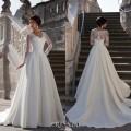 2017 Sexy A line Long Sleeve Wedding Dress V neck Panel Train lace Sash Floor Length Zipper lace Stain Bridal Gowns