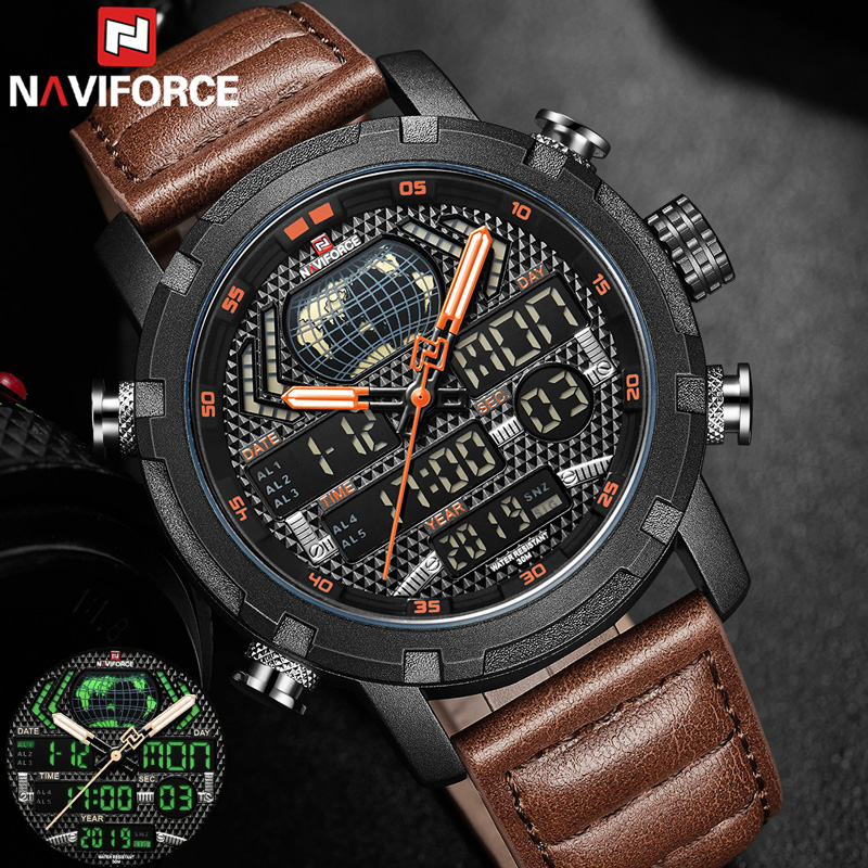 NAVIFORCE Watch Men Top Brand Luxury Digital Analog Sport Wristwatch Military Genuine Leather Male Clock Relogio Masculino 9160
