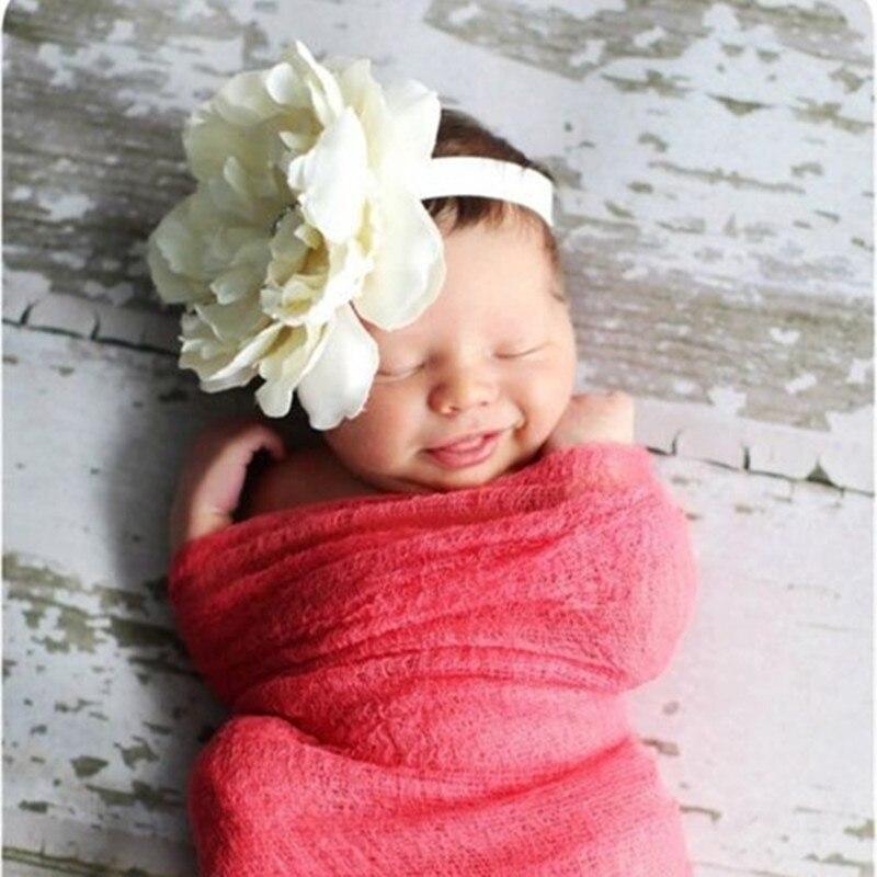 8 Colors Kids Peony Flowers Headband Girls Floral Headband Newborn Hair Bow Weave Headwear Hair Band Accessories