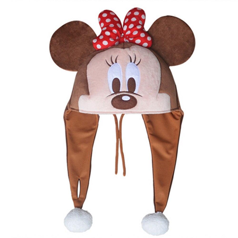 Disney натуральная шапка Микки Мышь Минни стежка мультфильм животных плюшевые шляпу Кепки Tab плюшевые игрушки День рождения Рождественские по...