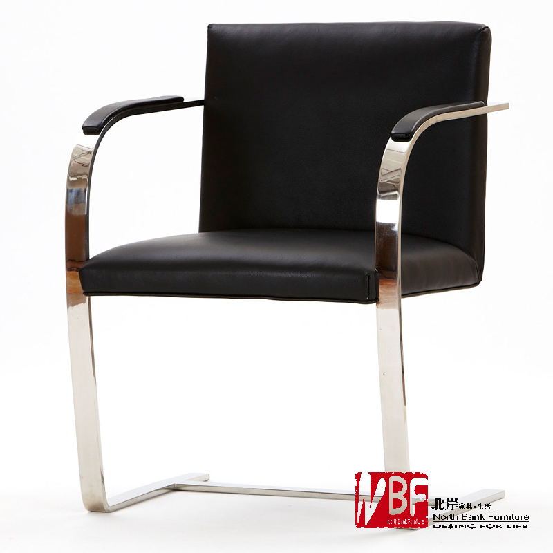 Nbf North S Bruno Leisure Chair Modern Leather Office Conference Parlor Chairs Minimalist Stainless Steel
