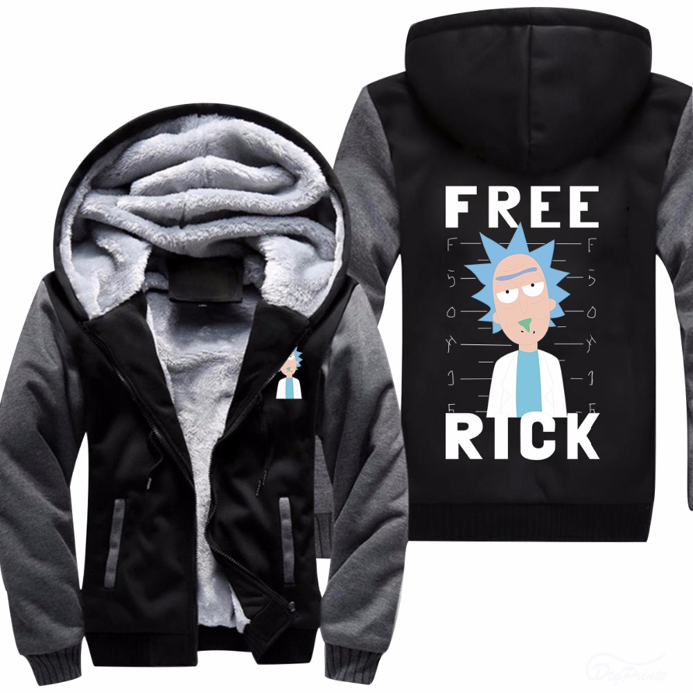 New Rick and Mority Hoodie Logo Winter Fleece Men's Sweatshirts Free Shipping USA Size